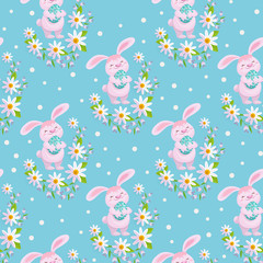 vector easter holiday seamless pattern with spring festive elements - Easter bunny, decorated eggs and daisy flowers with leaves. Flat style illustration on green background