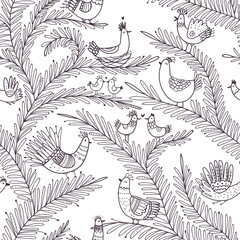 Vector seamless tropical pattern with birds on tree in love