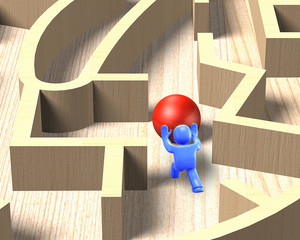 3d man pushing ball in wooden maze game, 3D illustration