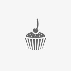 cake with cherry vector icon