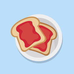 Toasts with jam. Bread toast. Vector stock.