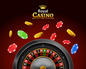 Casino roulette with chips, red dice realistic gambling poster banner. Casino vegas fortune roulette wheel design flyer