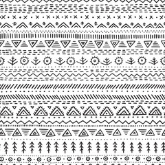 Fotobehang Boho Stijl Vector seamless pattern with ethnic tribal hand-drawn trendy ornaments