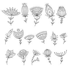 Vector set of boho ornamental flowers