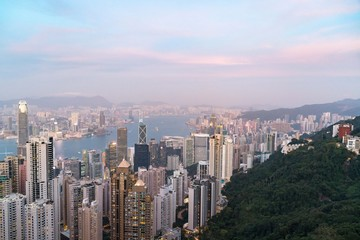 Hong Kong tower on sundown bird eye view from kowloon at victoria peak tower the famous view point of hongkong