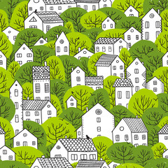 trees and houses seamless pattern spring light green colors
