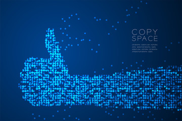 Abstract Geometric Circle dot pattern Hand thumb up shape, sign language concept design blue color illustration isolated on blue gradient background with copy space, vector eps 10