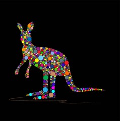 Vector illustration of kangaroo on a black background