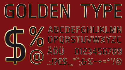 vector font with golden glossy outlines including letters, numbers and additional characters for headlines and commercial use