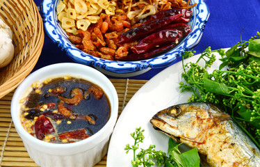 Traditional Thai Set Menu  Grilled mackerel with Neem and Sweet & Sour Tamarind Sauce.