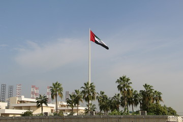 United Arab Emirates Flag and blue sky