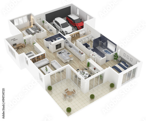 """""""Floor Plan Of A House Top View 3D Illustration. Open"""