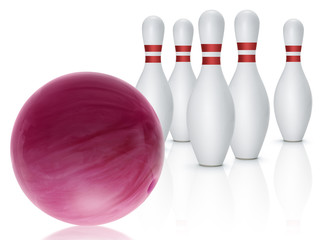 Bowling ball and skittles isolated on white background