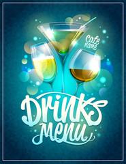 Drinks menu design with cocktails