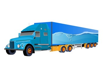 Fantasy Truck Trailer blue colored isolated vector illustration