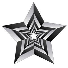 Black white polygonal star isolated on white.