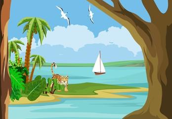 View from the sea coast of a tropical island, sea landscape, palm tree, jaguar.