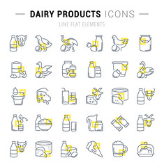 Set Vector Line Icons of Dairy Products.