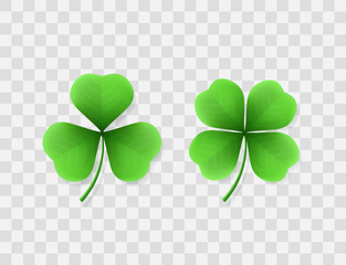 Vector realistic clovers with three and four leaves. Green shamrock for design of banners and flyers for St. Patrick's Day. Isolated from the transparent background.
