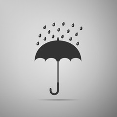 Umbrella and rain drops icon isolated on grey background. Flat design. Vector Illustration