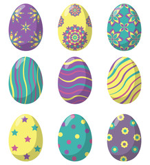 Easter eggs decorated with various simple and complex patterns, set. Vector illustration in flat style.