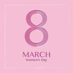 Happy Women's Day. Line 8 number with pink background. Vector illustration.