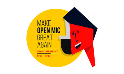 Open Mic Concept for Live Music. Man and Mic Vector illustration.