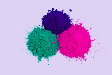 Holi colors powder pink purple green