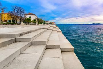 Zadar coastline Sea Organ. / Scenic view at coastal town Zadar and famous landmark on city promenade, Sea Organ, Croatia Europe.
