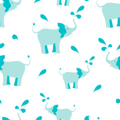 Seamless pattern with elephants spraying water drops on white background. Perfect for baby shower projects, cards, invitations, stickers, tags. Vector illustration for your design.