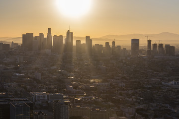 Aerial sunrise view towards Korea Town and downtown Los Angeles in Southern California.
