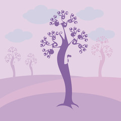 light violet with curls tree with blue clouds, purple meadows and trees on a background