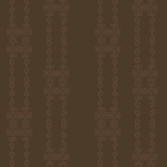Brown chocolate pattern from the curls and elements striped seamless pattern