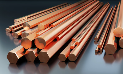 Stack of copper rodes on dark background with reflections on the ground. Different sizes - 3D illustration