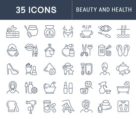 Set Vector Line Icons of Beauty and Health