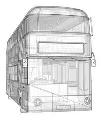 A double-decker bus, a translucent casing under which many interior elements and internal bus parts are visible. 3d rendering.