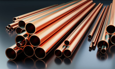 Stack of copper tubes on dark background with reflections on the ground. Different sizes - 3D illustration