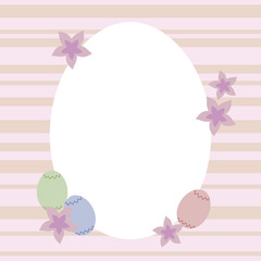 Colorful festive Light Easter oval frame with eggs and pink flowers.
