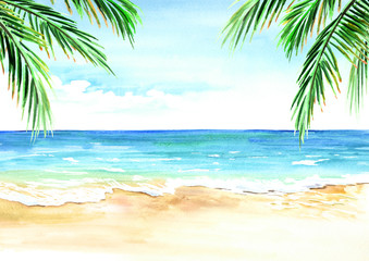 Seascape. Summer tropical beach with golden sand palm branches. Hand drawn horizontal watercolor illustration