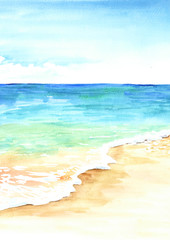 Summer tropical beach with golden sand and waves. Hand drawn watercolor illustration
