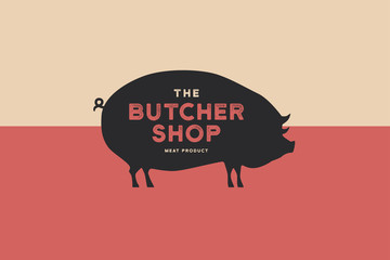Butcher shop logo with picture of silhouette pig and writing meat product. Design elements for meat stores, packaging and advertising. Vector Illustration.