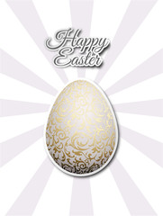 White egg with golden metallic floral pattern. Flat sticker on gray sun beams background. Bright greeting card with Happy Easter text.