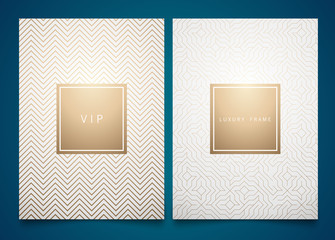 Vector set white packaging templates with different golden linear geometric pattern texture for luxury product. Trendy design for logo.