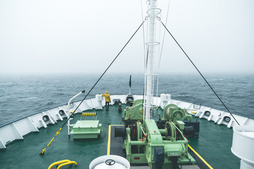 Ship's Bow in the Sea Fog