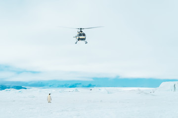 Helicopter approaching the Sea Ice - Antarctica.