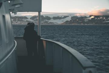 Travelers enjoying Sunset - Antarctica