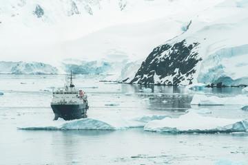 Expedition Vessel in the Antarctic Ocean - Antarctica