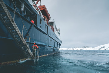 Approaching Expedition Vessel - Antarctica