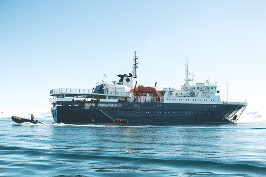 Side View of the Expedition Vessel - Antarctica