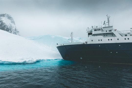 Ship landing on frozen Shore - Antarctica